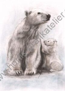 Eisbär-Mutter-mit-Kind